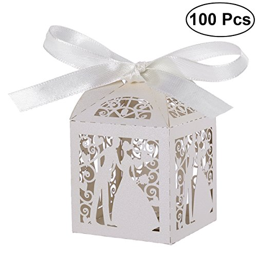 (Tinksky 100pcs Couple Design Luxury Lase Cut Party Wedding Favor Ribbon Candy Boxes Gift Box Table Decorations (White))