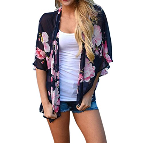 Amiley Summer Women Floral Print Beach Chiffon Loose Shawl Kimono Cardigan Top Cover Blouse Bikini Cover Up (S, Navy)