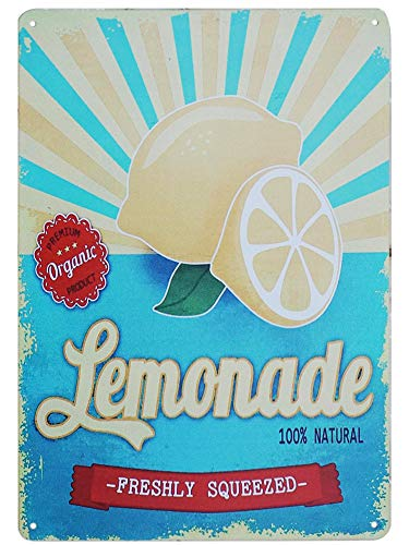 TISOSO Tin Signs Freshly Squeezed Lemonade Retro Vintage Tin Bar Sign Shop Decorations Coffee Sign 8X12Inch ()