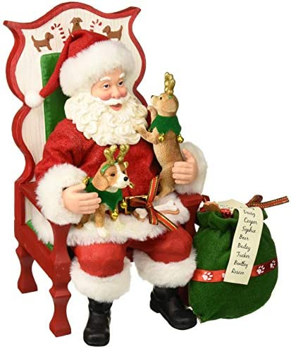 Department 56 Santa and His Pets Sit Stay Pose Figurine, 11 , Multicolor