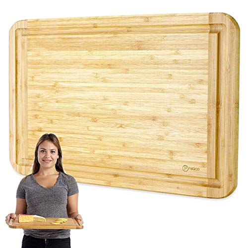 Bamboo Cutting Board and Serving Tray with Juice Groove - Extra Large 18 x 12 inches - Made Using Premium Bamboo - Cutting Board Tray