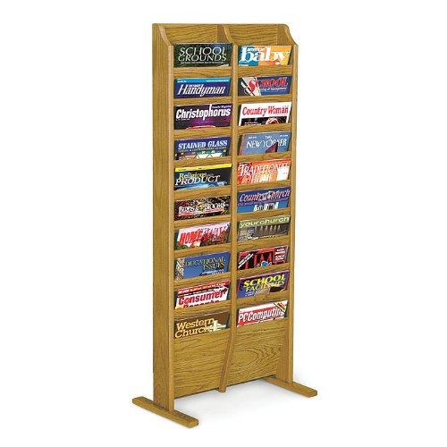 Wooden Mallet MR20-FSLO / MR20-FSMH / MR20-FSMO Free Standing Twenty Pocket Magazine Rack Wood Finish: Light Oak