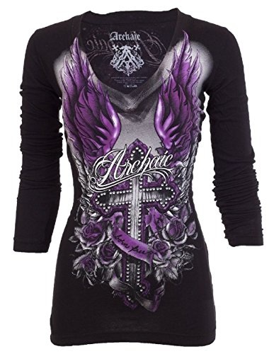 Archaic AFFLICTION Womens LS T-Shirt ROSEMARY Tattoo UFC Sinful Vocal – DiZiSports Store