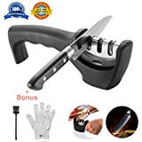 Knife Sharpeners- Knife Sharpening Kit 3 Stage Steel Diamond Ceramic Coated Kitchen Knife Sharpener Tool with Cut Resistant Glove and Brush - Non-Slip Base Chef Knife Sharpener Easy To Control