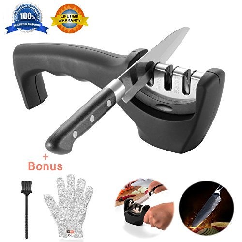 Knife Sharpeners- Knife Sharpening Kit 3 Stage Steel Diamond Ceramic Coated Kitchen Knife Sharpener Tool with Cut Resistant Glove and Brush – Non-Slip Base Chef Knife Sharpener Easy To Control