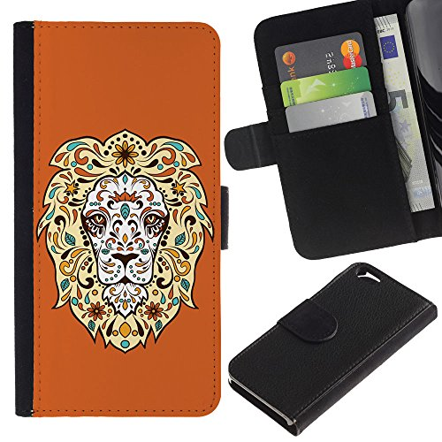 EuroCase - Apple Iphone 6 4.7 - Cool Awesome Floral Lion - Cuir PU Coverture Shell Armure Coque Coq Cas Etui Housse Case Cover