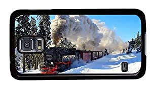 Hipster Samsung Galaxy S5 Case sparkle cover winter locomotive PC Black for Samsung S5