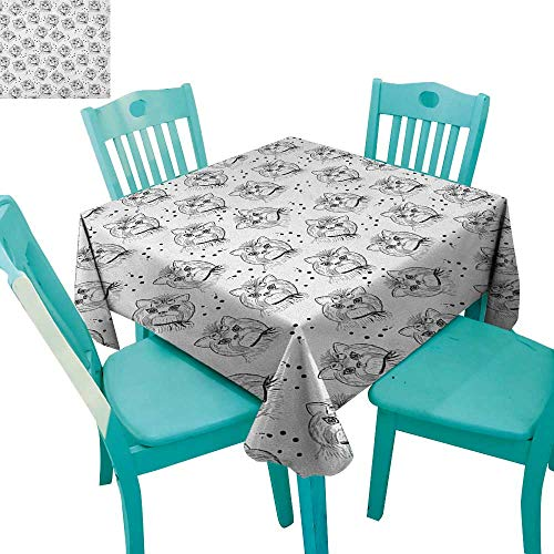 longbuyer Black and White,Printed Tablecloth,Cute Dog Pattern with Buckle and Collar Monochrome House Pet Illustration,54