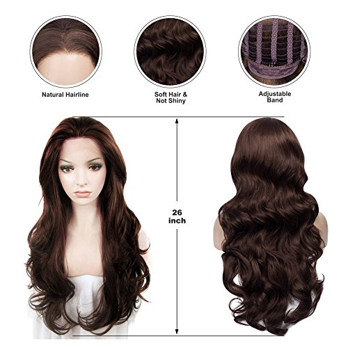 IMSTYLE Lace Front Wigs Natural Brown Wigs For Women Synthetic Long Wave Heat Resistant Synthetic Hair Costume Wigs 26inch by IMSTYLE (Image #4)