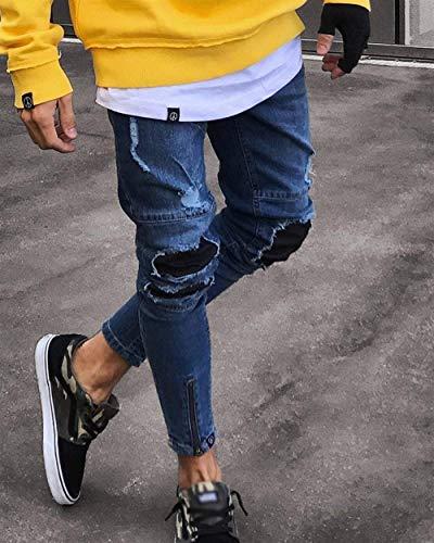 Dunkelblau Slim Denim Uomo Fori Fit Jeans Moda Pantaloni Di Firmati Ragazzi In Classiche Strappati Casual Da Vintage pBfxwaHq