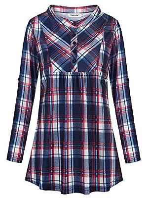 Tencole Womens Plaid Tunics Roll Sleeve Mandarin Collar Button Casual Office Top