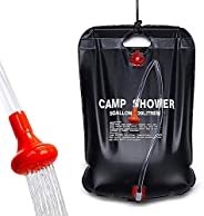 Camping Shower Bag,5 Gallons Portable Solar Camp Heated Water Storage Bag with Removable Hose and On-Off Switc