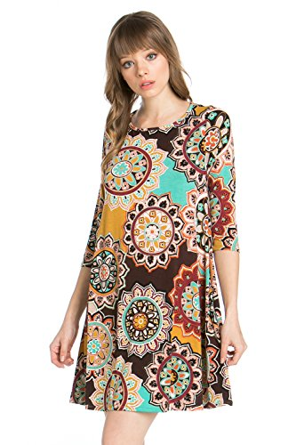 Brown Tunic Dress Line D7659hy Closet Women's Print A Junky Sleeve Side Pocket 3 4 FnRCPwOq