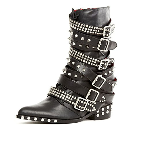 Pointed Campbell Boots Draco Leather Stud Embelished Wedge Hidden Jeffrey Moto URXw17q