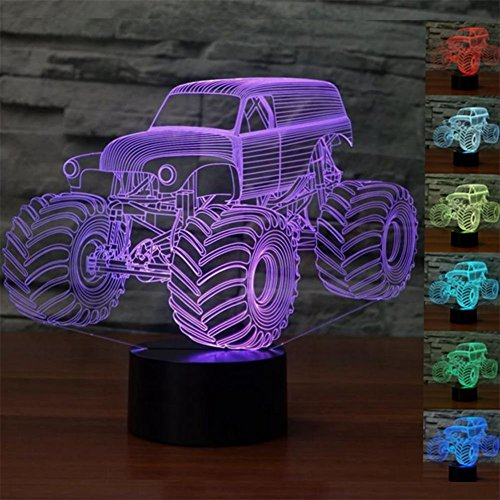 ZTOP Abstractive 3D Optical Illusion Monster Truck Colorful Lighting Effect Touch Switch USB Powered LED Decoration Night Light Desk Lamp (Lights Tesco's Christmas)