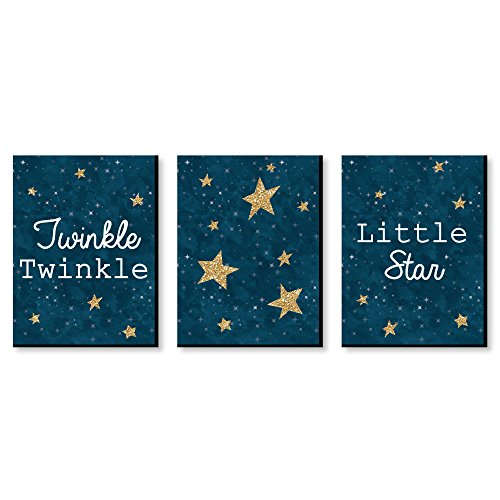 Twinkle Twinkle Little Star - Baby Boy Nursery Wall Art and Kids Room Decorations - 7.5 x 10 inches - Set of 3 Prints