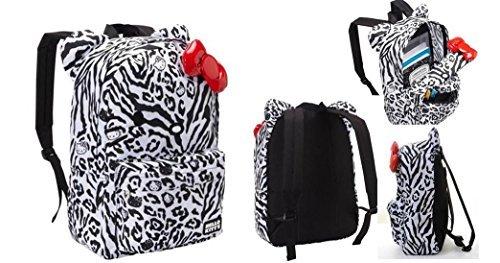 grandes ofertas Hello Kitty Animal Print Zebra Leopard Full Talla Talla Talla Backpack with 3D rojo Bow by Hello Kitty  primera vez respuesta