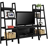 TV Stand + Bookcase Entertainment Console Rack Rear for up to 45 inch and 80 lbs TV with Shelf (3)
