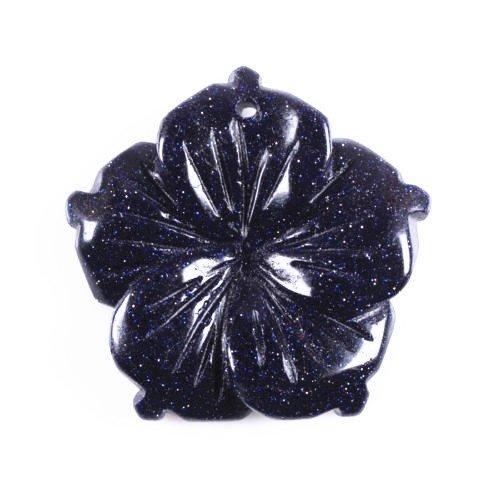 Wholesale 28mm Hand carved gemstone flower pendant bead 5pcs (Blue - Carved Gemstone Flower Beads