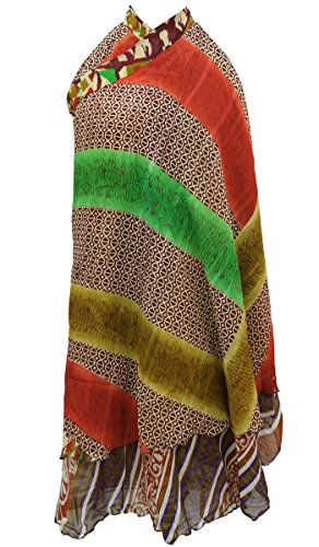 Vestido de época mágica Pareo cabestro Georgette Boho del tubo falda del abrigo Marrón y verde