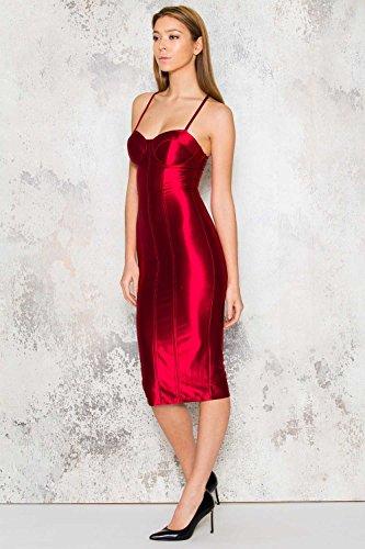 Rosso Vestido Mujer Para Sin Missord Noche Mangas pB6wg