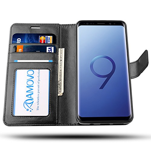 AMOVO Case for Galaxy S9 Plus [2 in 1], Samsung Galaxy S9 Plus Wallet Case [Detachable Wallet Folio] [Premium Vegan Leather] Samsung S9 Plus Flip Case Cover with Gift Box Package (Black, S9+) by Amovo (Image #3)