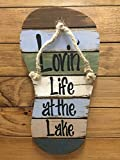 FLIP FLOP Sign Reclaimed Wall Pallet Lovin Life at the lake / in Flip Flops Beach Wood Rustic Sandal Plaque 13