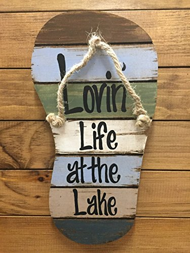 Cheap FLIP FLOP Sign Reclaimed Wall Pallet Lovin Life at the lake / in Flip Flops Beach Wood Rustic Sandal Plaque 13″ X 7″ Vertical Nautical Wooden Sign with Twine *Blue Green Brown White