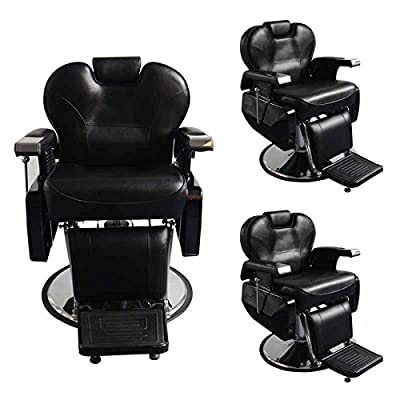 BarberPub Three All Purpose Hydraulic Recline Salon Beauty Spa Shampoo Hair Styling Barber Chair 2687 Black