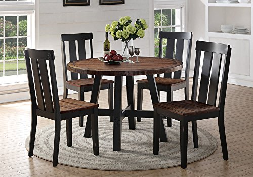 1PerfectChoice 5 pcs Round Dining Set Distressed Oak Wood Seating Side Chairs Black Legs Base
