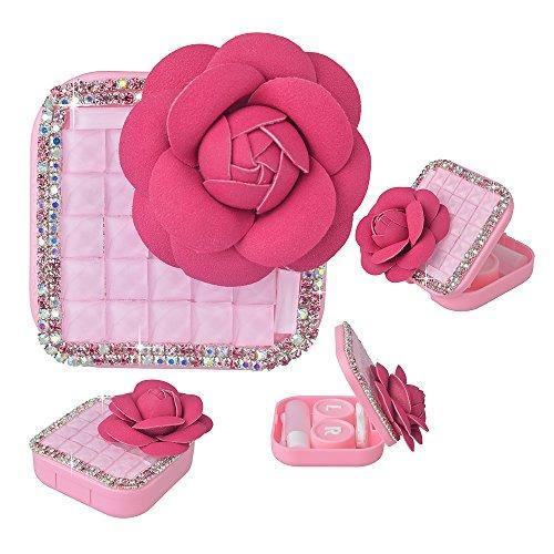 KAKA(TM) Fashion Box Kit 3D Handmade Rhinestone Bling Crystal Design Big Flower Decorated Pink Mini Contact lenses - Chart Size Spectacle