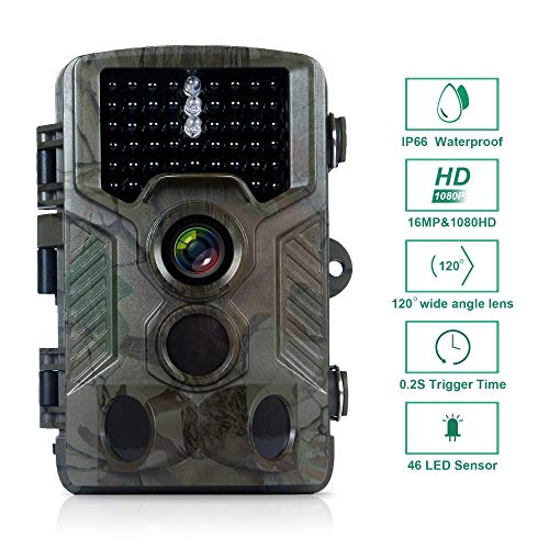 FLAGPOWER Trail Camera 16MP 1080P Hunting Game Camera with Night Vision Motion Activated IP66 Waterproof 120 Detecting Range Motion Activated Night Vision 2.4 LCD IR LEDs 32 GB Memory Card
