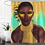 Colorful Star Afro Africa Woman Design Shower Curtain Yellow Eyeshadow,Waterproof&Antibacterial&Eco-Friendly made of 100% Polyester Fabric,Non Toxic,Odor Free,Rust Proof Grommets 60''x72''