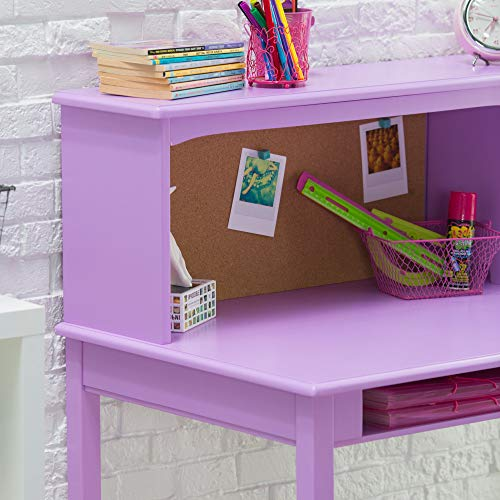 Guidecraft Children's Media Desk and Chair Set - Lavender: Student's Study Computer Workstation with Hutch and Shelves, Wooden Kids Bedroom Furniture