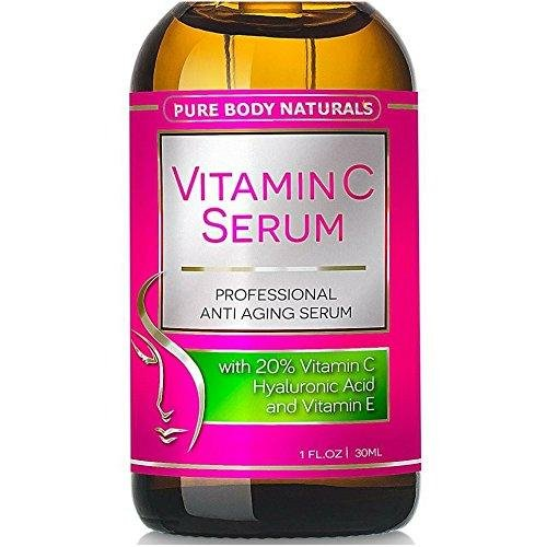 Pure Body Naturals Anti-Aging Vitamin C Facial Serum with Hyaluronic Acid & Vitamin E, 1 FL OZ.