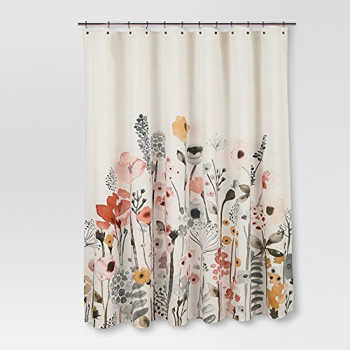 - Threshold Floral Wave Shower Curtain 100% Cotton 72