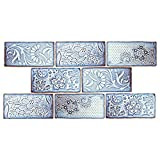 SomerTile WCVAFV Antigue Feelings Via Lactea Ceramic Wall Tile, 3'' x 6'', Blue/Brown