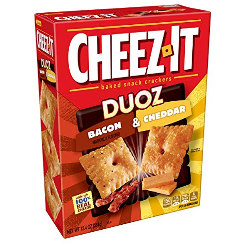 Cheez-It DUOZ Baked Snack Cheese Crackers, Bacon & Cheddar, 12.4 oz Box(Pack of 12)
