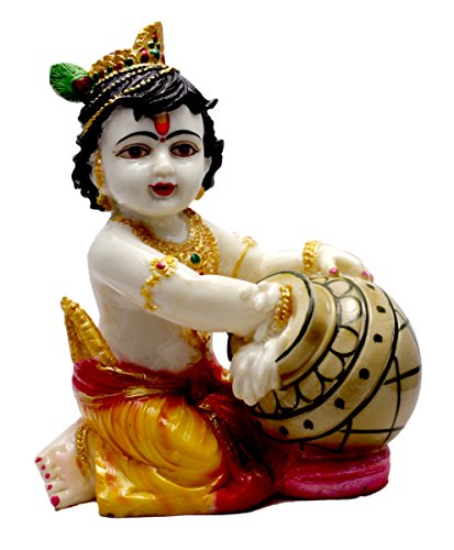 Amazing India Hand Carved Baby Krishna Resin Idol Sculpture Statue Size 7 Inches – Black And Golden