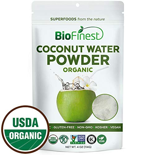Biofinest Coconut Water Powder - 100% Pure Antioxidants Superfood - USDA Certified Organic Vegan Raw Non-GMO- Boost Digestion Weight Loss - Fresh Fruit for Smoothie Beverage (4 oz Resealable Bag)