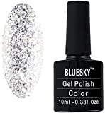Bluesky Limited Edition Holiday Shade Aurora UV Gel Nail Polish, Silver Glitter 10 ml
