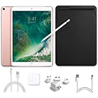 2017 New IPad Pro Bundle (5 Items): Apple 10.5 inch iPad Pro with Wi-Fi 64 GB Rose Gold, Leather Sleeve Black, Apple Pencil, Mytrix USB Apple Lightning Cable and All-in-One Travel Charger