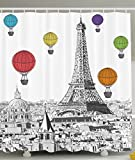 hot air balloon paris - Ambesonne Paris Shower Curtain Eiffel Tower Cityscape Decor, Notre Dame with Colorful Hot Air Balloons, Polyester Fabric Bathroom Set with Hooks, 69 x 70 Inches Long, Grey White Green Blue Yellow