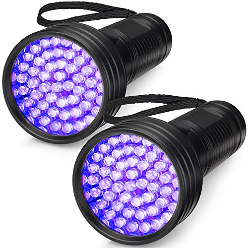 2-Pack UV Flashlight Black Light, FOLKSMATE 51 LED 395 nm Ultraviolet Blacklight Urine Detector for Dogs, Pet Stains, Bed Bugs, Scorpions, Portable for Travel Black Light