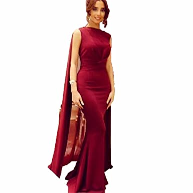 Little PrettyDress Elegant Womens Dark Red Mermaid Evening Dress High Neck Long Chiffon Prom Dresses Vintage
