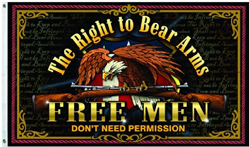 Capsmith Free Men Dont Need Permission For The Right to Bear Arms 3x5 Flag Gun - Right Bear