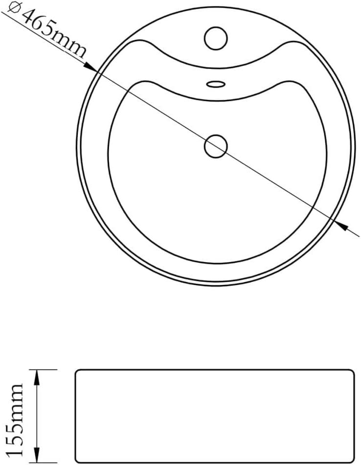 vidaXL Vasque Rond /à Trou Robinet//trop-Plein C/éramique pour Salle de Bain Noir