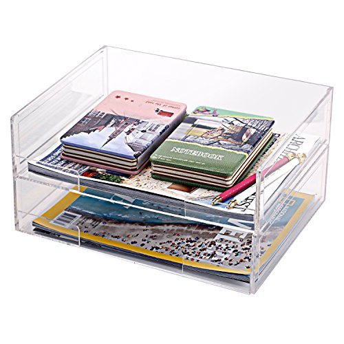 Deluxe Stacking Clear Acrylic Document Paper Trays, Desktop Organizer Racks, Set of 2 (Document Organizer Deluxe)