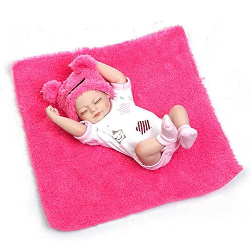 Pinky 26cm 10 Inch Mini Full Body Hard Vinyl Silicone Reborn Baby Girl Doll Newborn Dolls Xmas Birthday Present]()