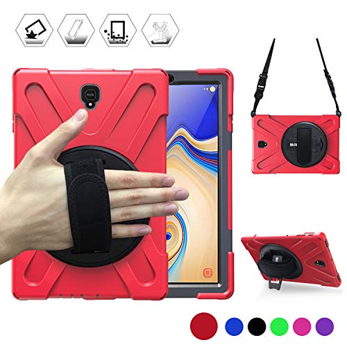 BRAECN Samsung Galaxy Tab S4 10.5 Case, [Portable Shoulder Strap][Adjustable Handle Grip][Rototating Kickstand] Heavy Duty Shockproof Rugged Case for Galaxy Tab S4 10.5 Tablet SM-T830/T835/T837 (RED)